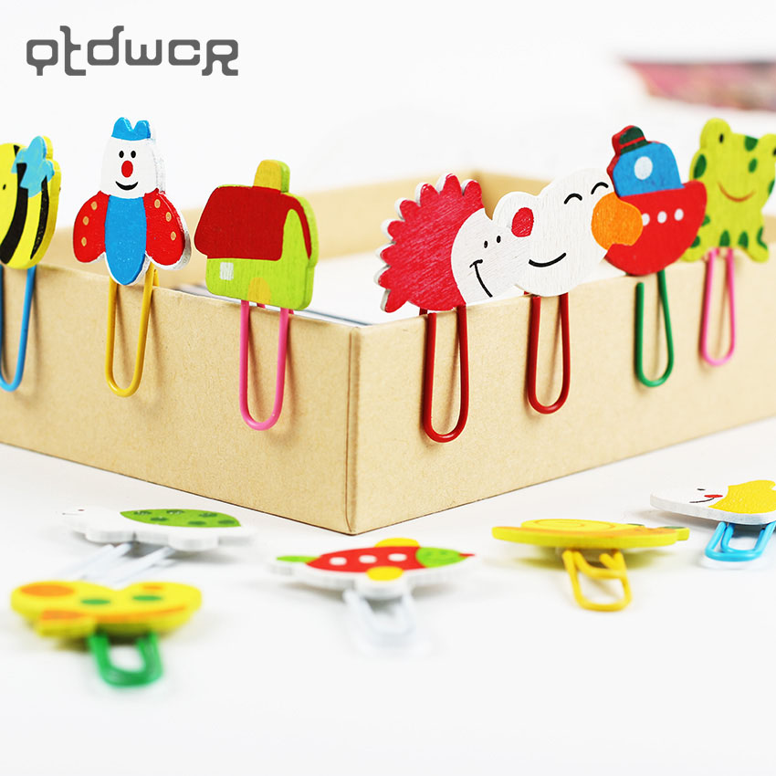 12PCS/1 Set Cute Cartoon Animal Pattern Wooden Paper Note Clips Bookmark Paper Clip Stationery Learning Office Supplies
