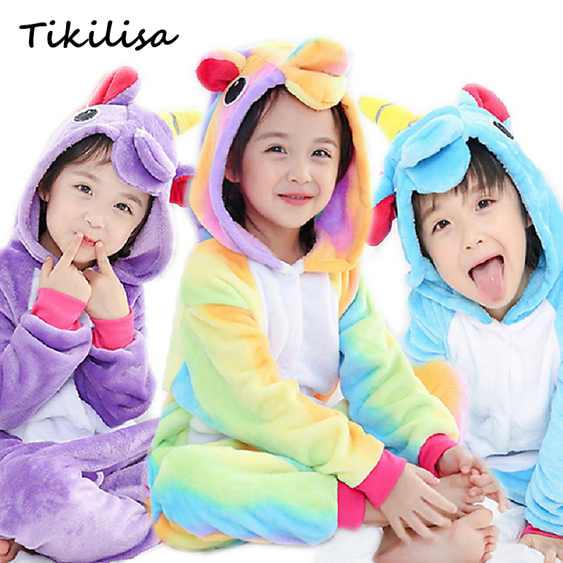 Brand Boy Girl Pajamas set Zipper Children Kids Unicorn Panda Winter baby Pajamas Flannel Cartoon Cosplay Cute Onesie Sleepwear фильтр sea star каскад hx 004 1101293