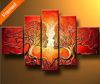 Five panels Framed oil painting modern abstract tree oil paintings for wall decoration
