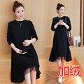 Maternidade roupas outono top além disso espessamento one piece-vestido de um tamanho mais solto longo-luva de inverno de maternidade