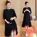 Maternity clothing autumn  top plus thickening one-piece dress a plus size loose long-sleeve winter maternity