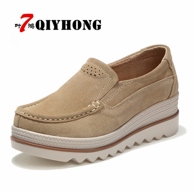QIYHONG 2018 Autumn women flats shoes platform sneakers shoes   leather     suede   casual shoes slip on flats heels creepers moccasins