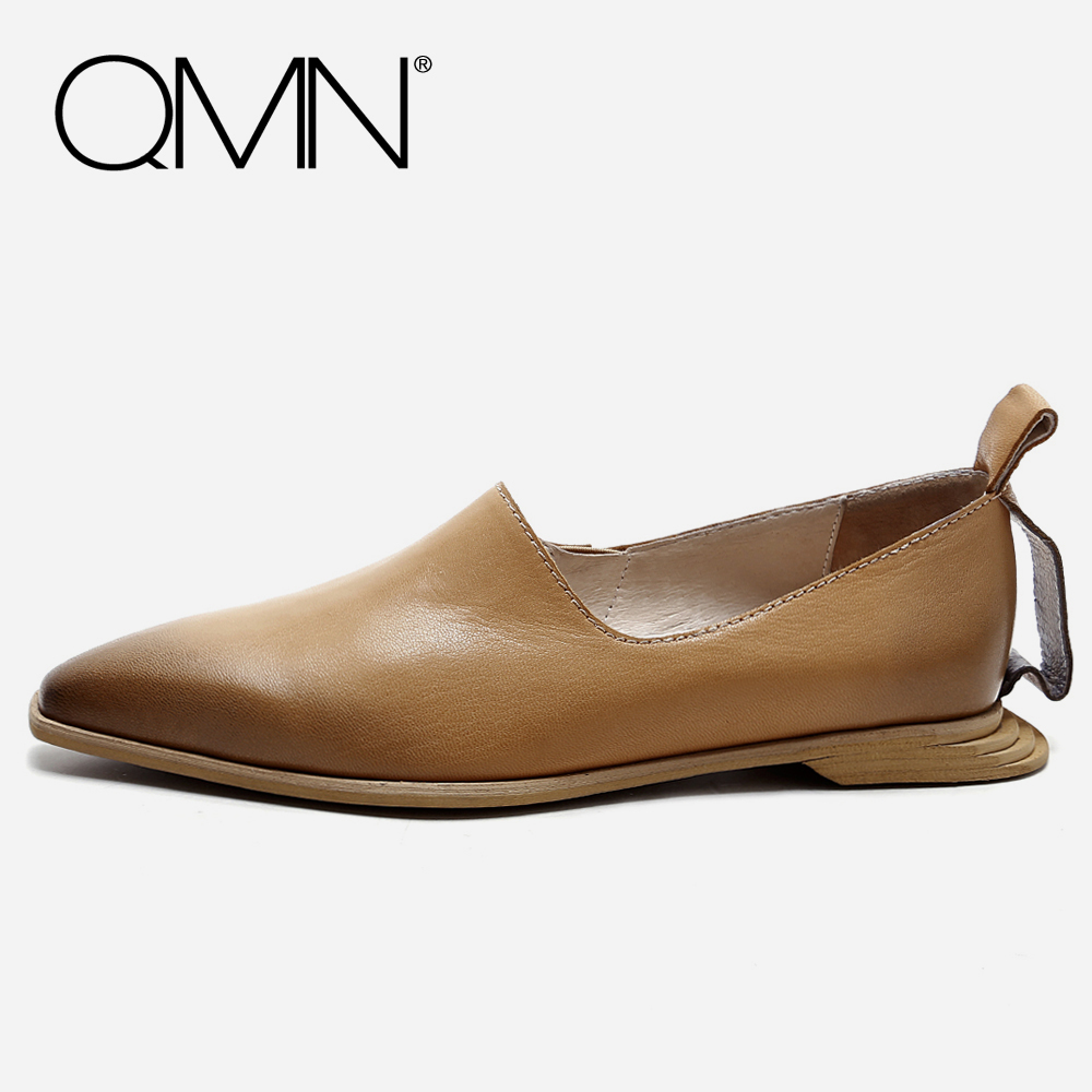 QMN women genuine leather flats Women Brushed Leather Pointed Toe Flat Heel Slip On Leisure Shoes Woman Sheepskin Moccasins qmn women crystal trimmed brushed embossed leather brogue shoes women square toe oxfords shoes woman genuine leather flats 34 43