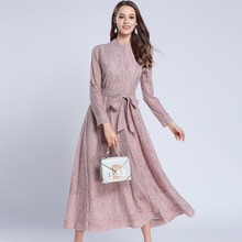 Elegant Pink Lace Slim Tunic Bow Maxi Dress Vintage Office Party Fashion Dress 2019 Spring Long Sleeve Sashes Clothing
