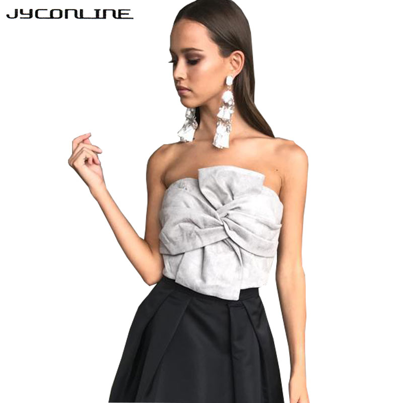 JYConline Suede Crop Tops Women Off Shoulder Boob Tube Tops Sexy Bralette Cropped Feminino Strapless Bandeau Tank Top For Women
