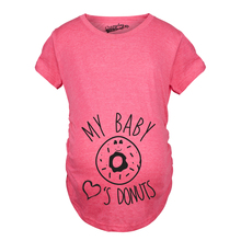 f6300352d Maternity My Baby Loves Donuts Funny Announce Pregnancy Baby Bump T shirt()