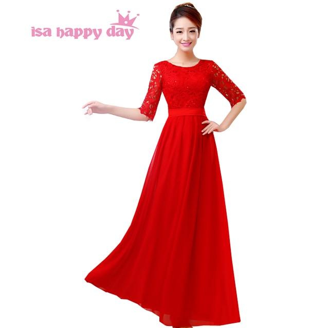 half sleeve lace red floor length 2018 ladies and women best selling ...