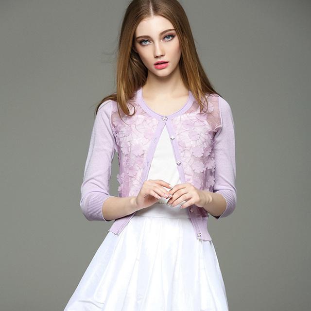 2017 Nuevo Remiendo Del Cordón Del Verano de Las Mujeres Cardigan Suéteres de Moda Europea Floral Punto O-cuello Delgado Suéter de Punto de Mujer Femenina