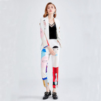 Women Work Wear Suit Office Wear Women's Business Coat & Pant Set Personality Print  Long-Sleeved 2 Pcs / Set  Drop Shipping