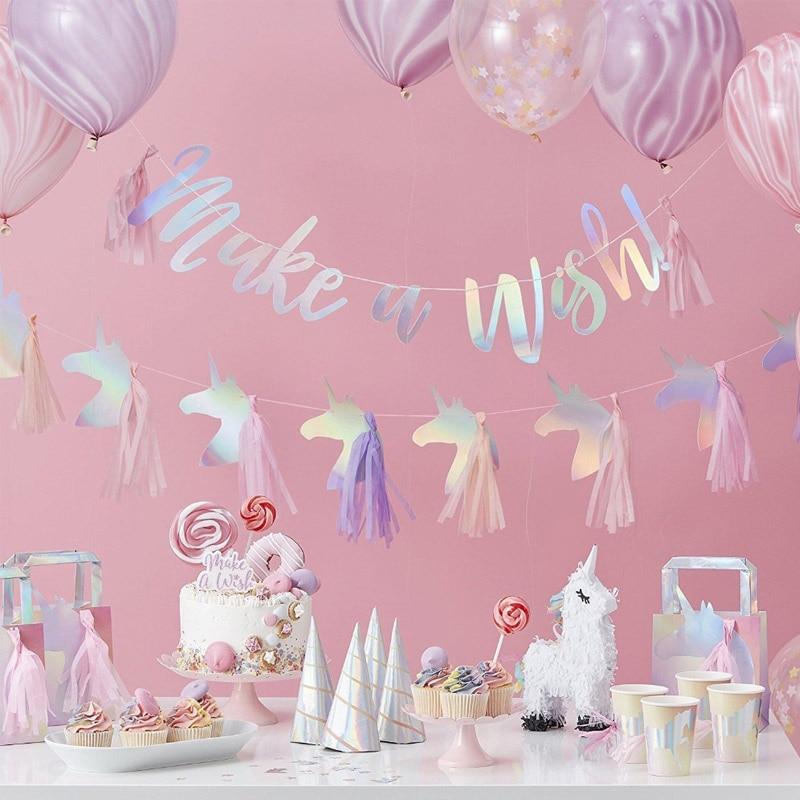 Rainbow Unicorn Garland Pompom Flowers DIY Baby Shower Decor Party Supplies