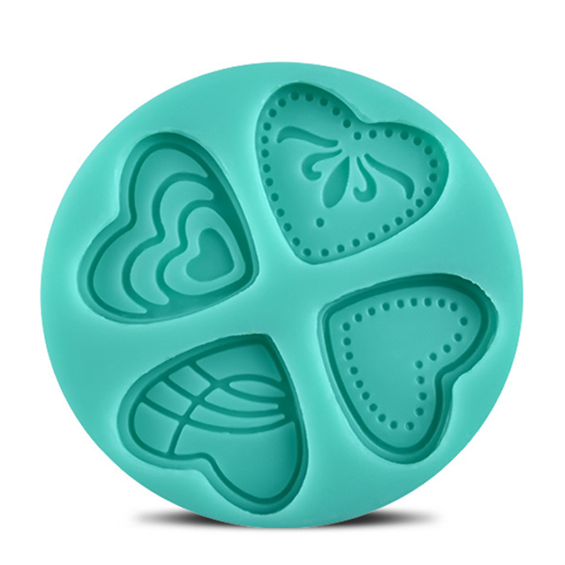 4 Styles 3D Silicone Heart Loving Shaped Baking Mold Fondant Cake Tool Chocolate Candy Cookies Pastry Soap Moulds  E687
