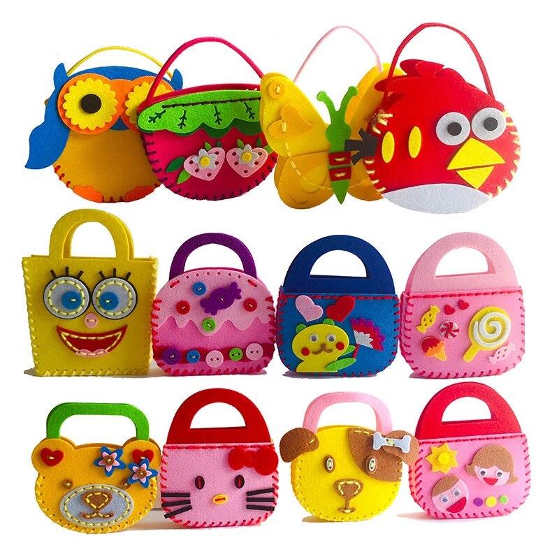 DIY Fabric Applique Bag Kids Children Handmade Montessori Toys Non-woven Cloth Flower Cartoon Animal Bag Preschool STEM Art Gift