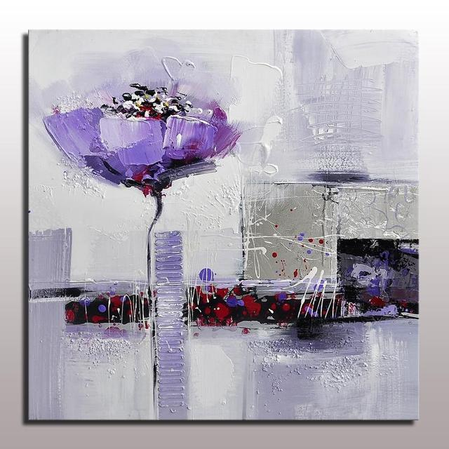 Beautiful abstract painting of purple flower on linen canvas with