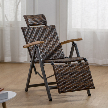Outdoor Indoor Rattan Rocking Chair With Cushion Zero Folding Lounge Chair Vintage Recliners For Patio, Pool, Beach,deck, Home