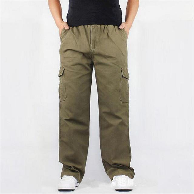 Otoño Invierno de Algodón de Los Hombres de Carga pantalones Casuales multi-bolsillo flojo ocasional pantalones de chándal Basculador hombres Joggers Pantalones de Gran tamaño 6XL