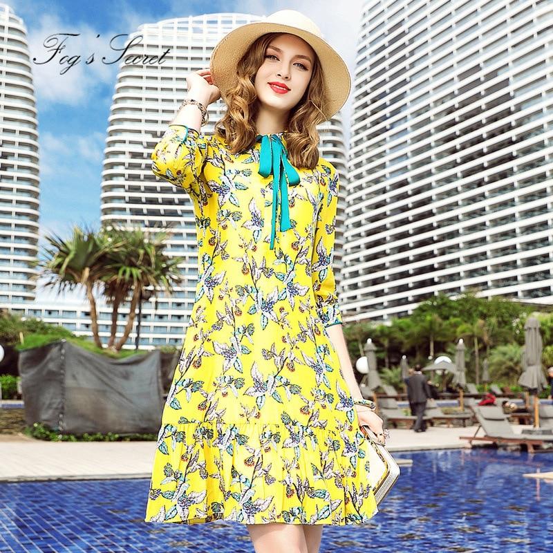 Vitalité Fleur Robe Haut Style Femme Femmes Pour Gamme De Soie Jaune Jeune 2019 Europe Imprimer Robes Réel aw8E6Wq8g
