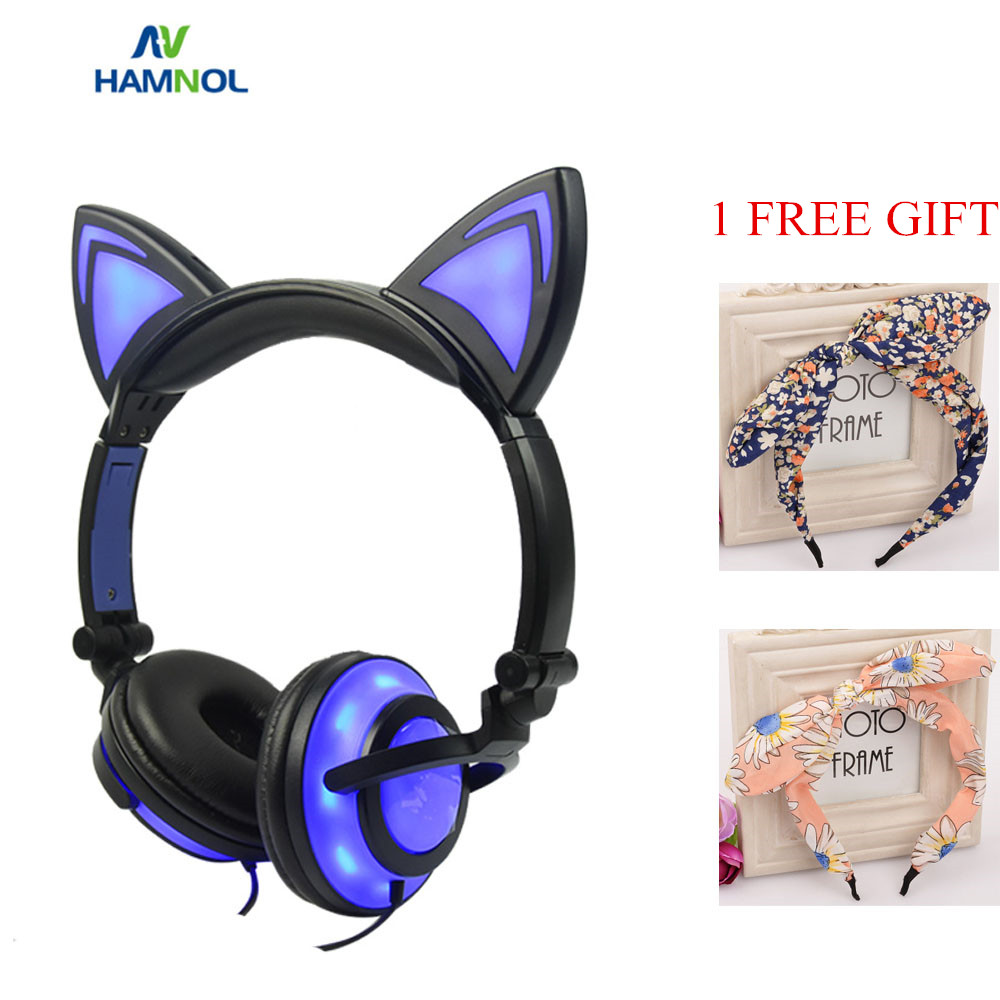 HAMNOL Glowing Light Cat Ear Gaming Headphones Stereo Cat Earphones 3.5mm Wired Gamer Headset for PC Gamer Mobile Phone SP4 XBOX oneodio professional studio headphones dj stereo headphones studio monitor gaming headset 3 5mm 6 3mm cable for xiaomi phones pc