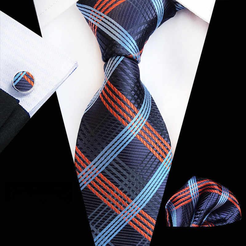 71 couleurs 100% soie cravate ensemble pour hommes Plaid cravate ensembles boutons de manchette poche carré bleu marine Orange 2019 hommes costume cravate mouchoir