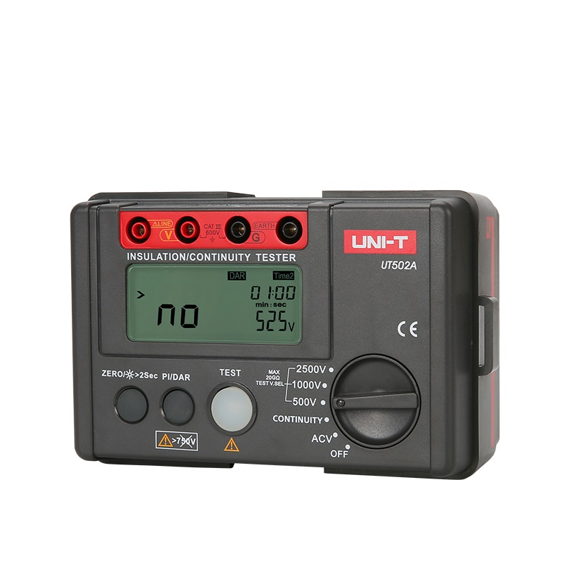 UNI T UT502A Insulation Resistance Tester 2500V Digital Megohmmeter High Voltage / Overload Indicator LCD Backlight