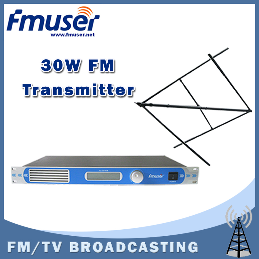 Free shipping FMUSER FU-30/50B 30W FM transmitter 0-30w power adjustable FM radio broadcaster+Circular Polarized antenna kit free shipping fmuser st 05c 0 1w 0 5w fm transmitter antenna power supply kit