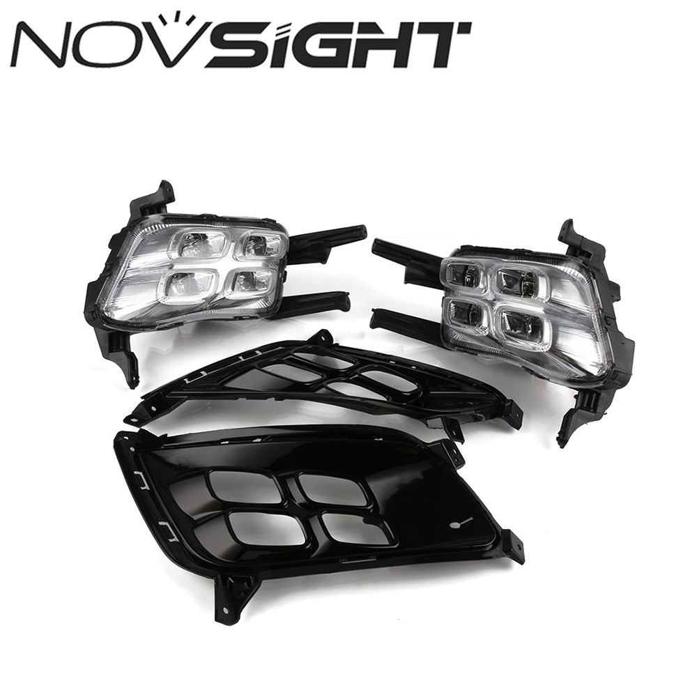 NOVSIGHT 2pcs Car LED DRL Driving Daytime Running Lights White Driving Lamp For Kia K5 2013-2015 D20 kalaite car led drl for kia optima k5 2013 2014 2015 daytime running lights for kia optima k5 fog head lamp cover car styling