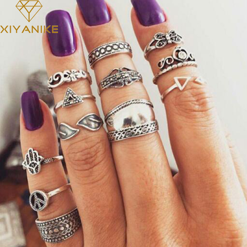 XIYANIKE 12pcs/Set Vintage Knuckle Palm Butterfly Finger Ring Set for Women Femme Fashion Antique Silver Midi Boho Jewelry R100