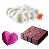 DUOLVQI 3PCS Cake Mould Pan 3D Grid Block Clouds Diamond Heart Silicone Mold Mousse Chocolate Mould