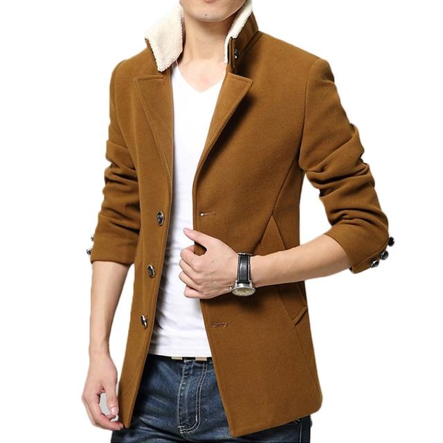 Fashion Brand Clothing 2017 Men Winter Wool Blends Jacket Single Breasted Slim Fit Men's Short Woolen Casual Coats 128wy