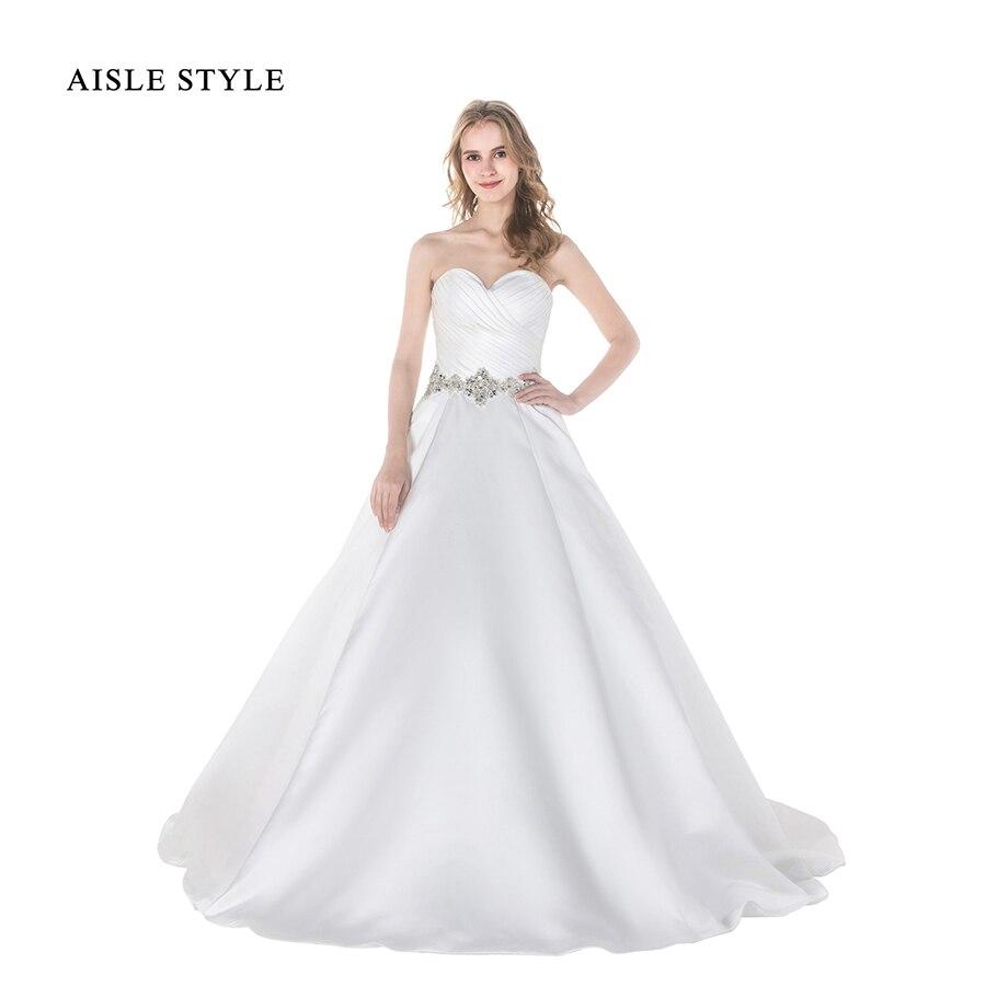 Modern Wedding Dresses 2017 Slim Cut A Line White Satin