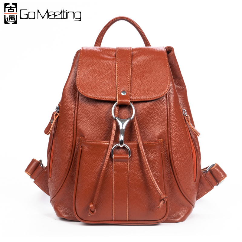 Go Meetting Brand Genuine Leather Women Backpack Ladies Fashion Backpacks School Bags Top Layer Cowhide Leather Travel Backpack