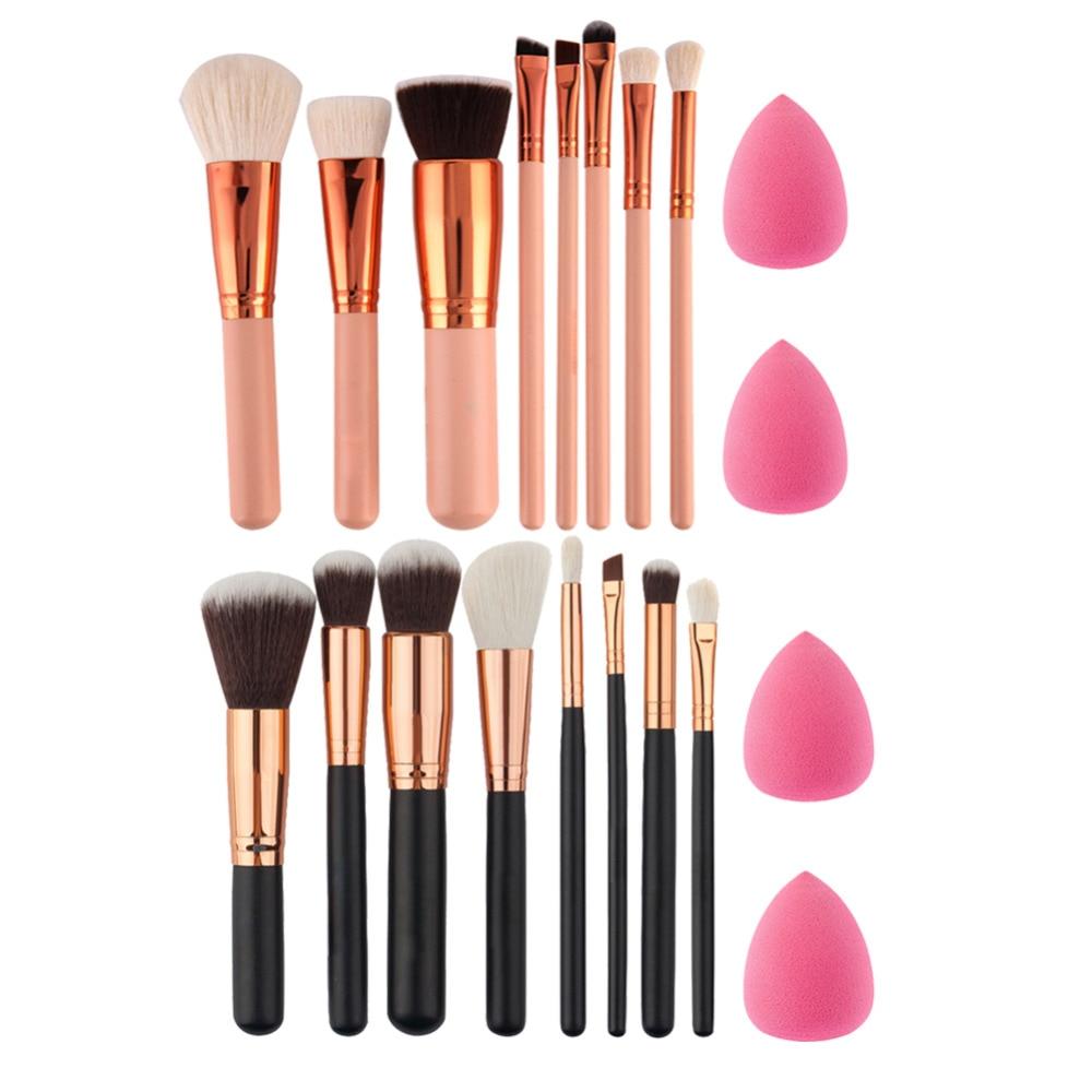 Soft 8Pcs Rose Gold Makeup Brushes Eyeshadow Powder Blush Fondation Brush Make Up Tool 2pc Sponge Puff Cosmetic Kit Easy bob cosmetic makeup powder w puff mirror ivory white 02