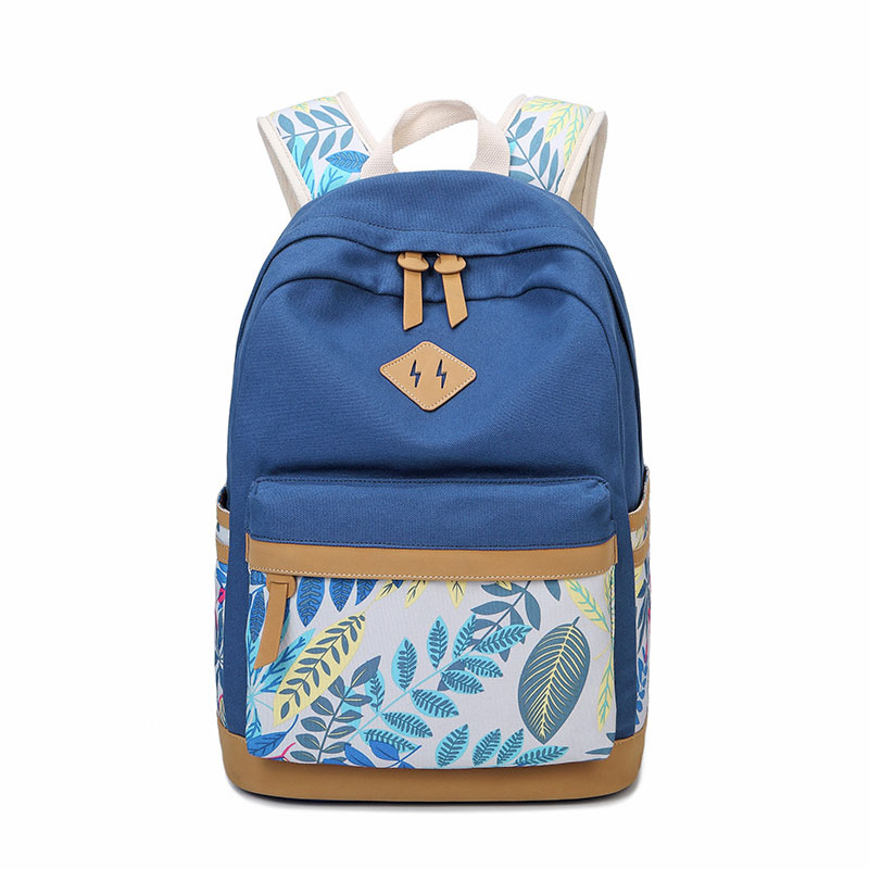 все цены на Printing Backpack School Bags For Girls Canvas Backpack Women Back To School Bagpack Leaves Children Schoolbag Teenage Backpacks