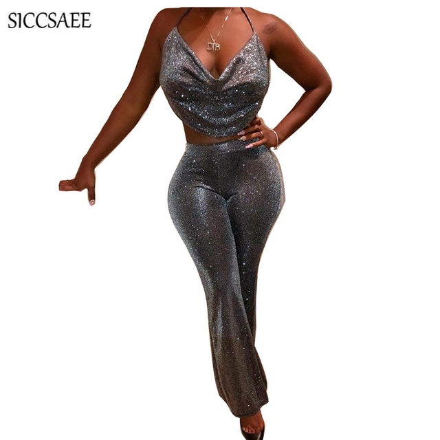 335df8f8dc Silver Halter Crop Top Wide Leg Bell Bottom Pants Two Piece Set Backless  Glitter Overalls Sexy Club Wear Sparkly Stripper Fall