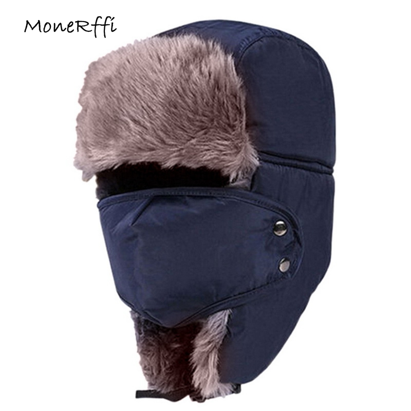 Monerffi Fur Hats Mask Skullies-Caps Winter Women Windproof with Outdoor Riding Thicken