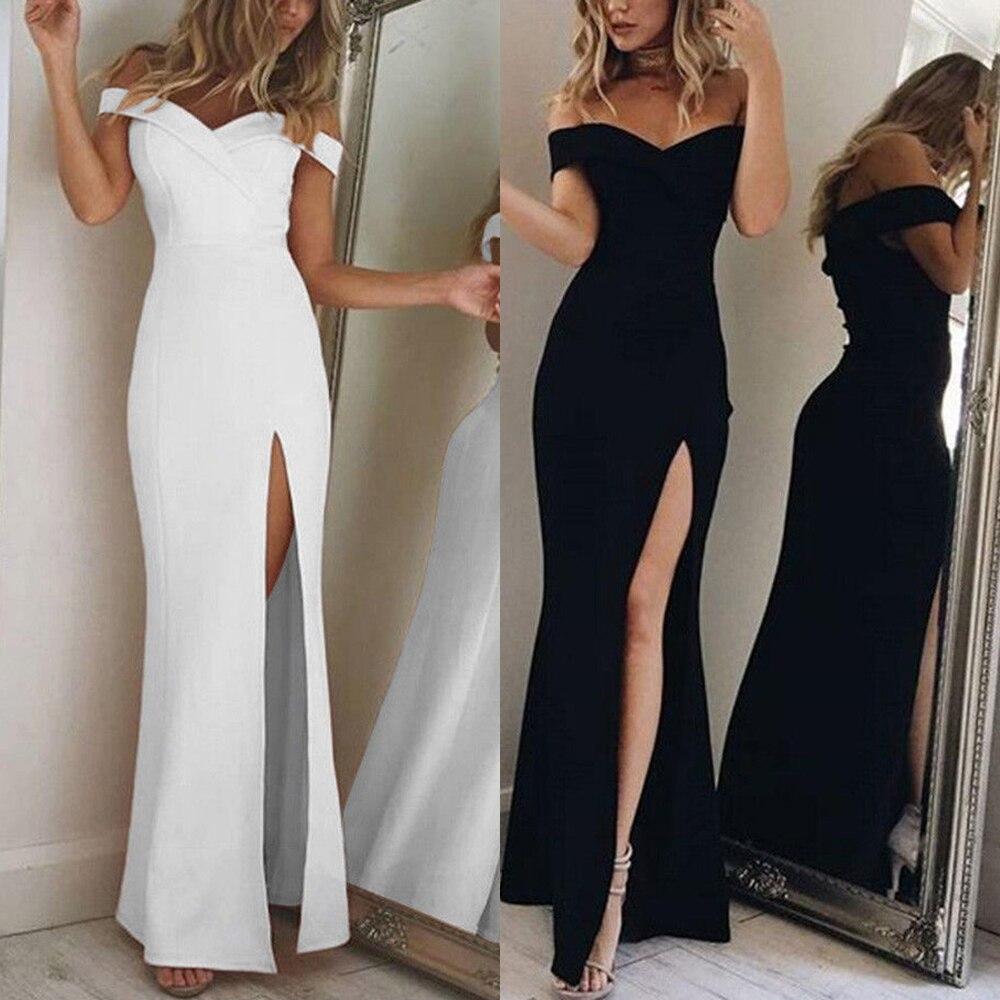 meet 4604b f056b Sexy Spacco Maxi Vestito Lungo Elegante Abito Bianco Al ...