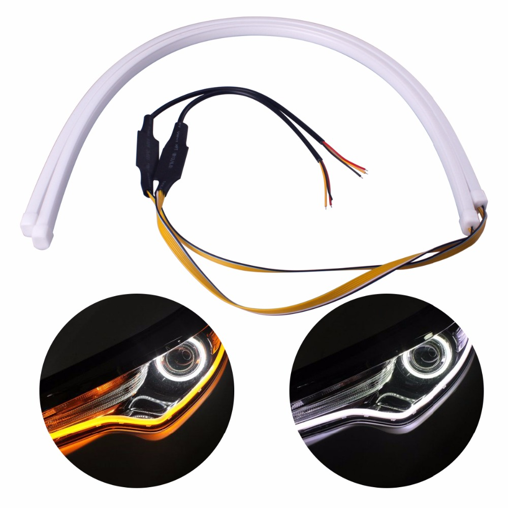 2Pcs 60cm Universial Flowing Daytime Running Light Flexible Soft Tube Guide Car LED Strip White DRL and Yellow Turn Signal Light 2pcs 30cm drl 12v 3colors white blue red flexible soft tears strip daytime running light with yellow turning signal light