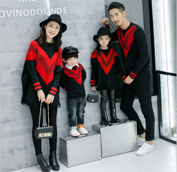 Family Matching Clothes New Year Dress Christmas Clothes Mother Daughter Dress Girls Holiday Dress Couple Clothes Batwing Sleeve