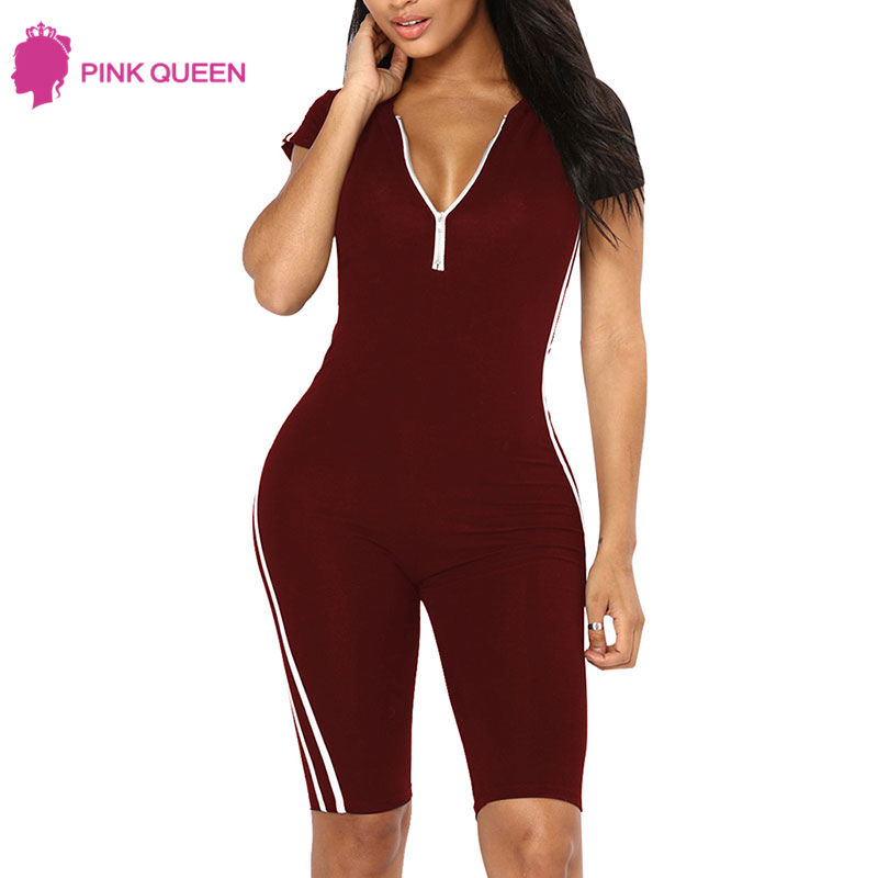 Pink Queen Fitness Jumpsuit Combishort Bustier Vetement 2018 Bodysuit - Dameskleding