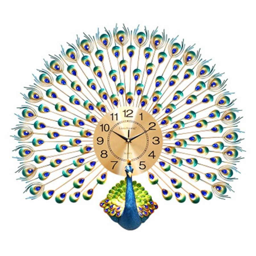 Paon 3d horloge moderne décor mural en métal grand décoratif de luxe horloge murale salon ferme horloge murale Design maison C5T9