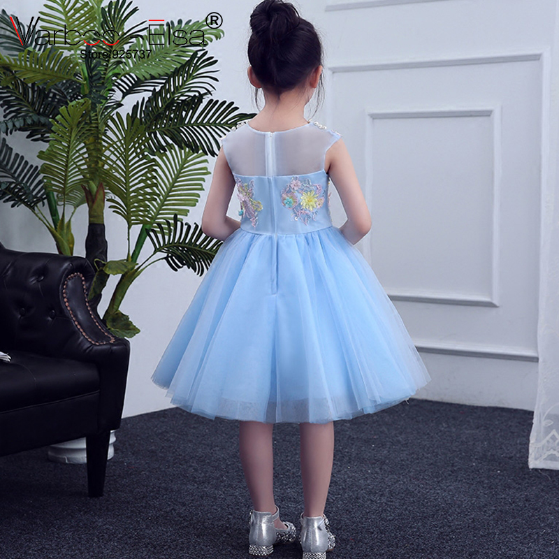 e9367dfdd3 US $76.0 20% OFF|VARBOO_ELSA Little Girl Evening Dress Pink White Tulle  Flower Girl Dress Embroidery Appliques Children Gowns vestido de daminha-in  ...