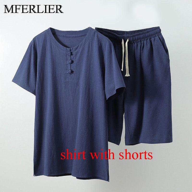 MFERLIER Summer men shirt 5XL 6XL 7XL 8XL 9XL 10XL Bust 157-162cm plus size linen large size shirt with shorts men 5 colors 15
