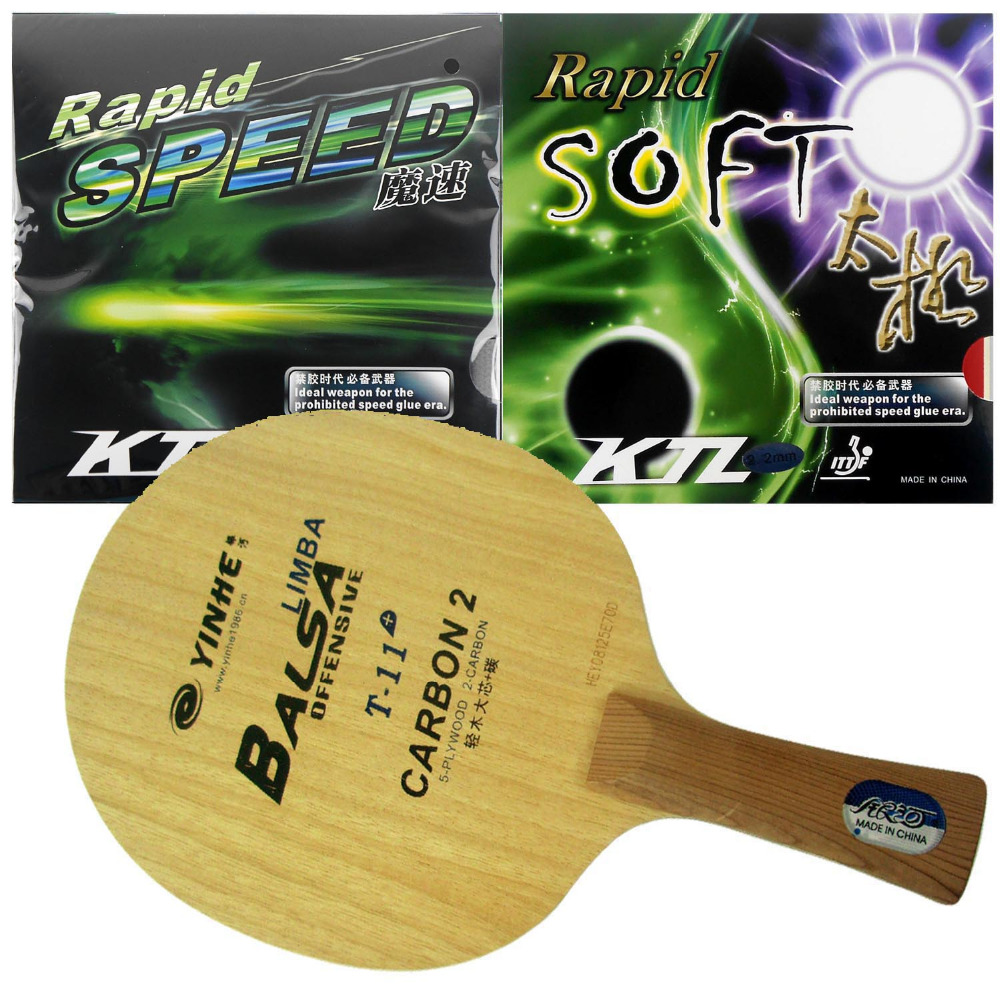 Pro Table Tennis (PingPong) Combo Paddle / Racket: Yinhe T-11+ + KTL Rapid SPEED / Rapid SOFT Shakehand Long Handle FL pro table tennis pingpong combo paddle racket dhs power g3 pg3 pg 3 pg 3 2 pcs neo hurricane3 shakehand long handle fl