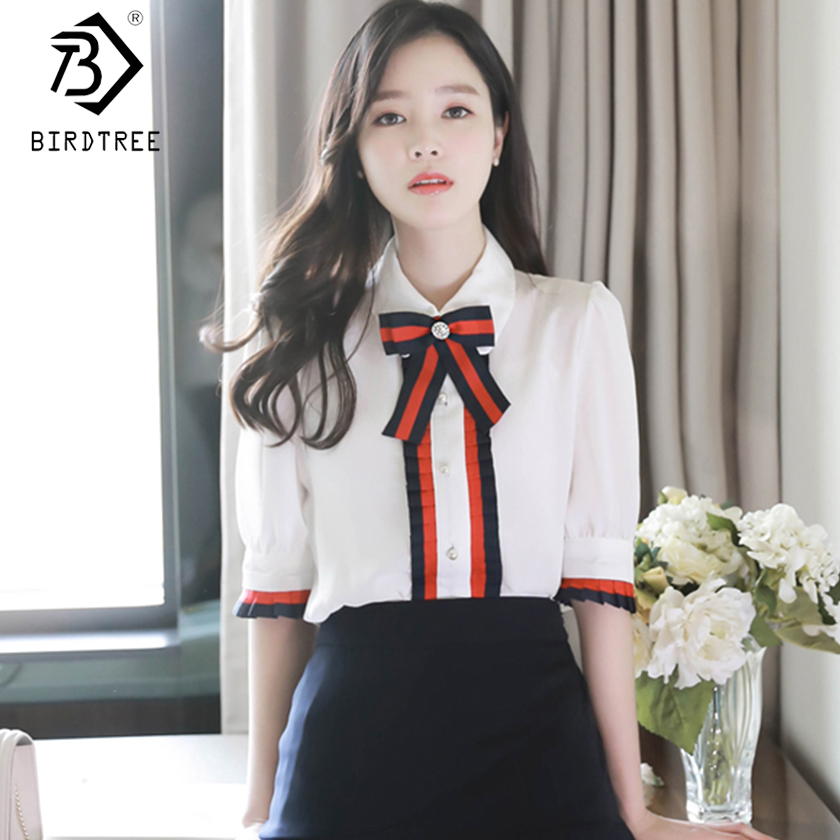 2019 Spring Women New Chiffon   Blouse     Shirt   Ruched Half Sleeve Removable Bow Collar Fashion Causal White Top Hot T8D506C