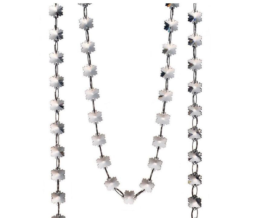 Недавно Снежинка Бусины Цепи 20 м/лот Кристалл 14 мм Стекло гирлянды висит пряди для люстр, партии Свадебные украшения