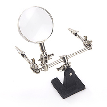 64mm Helping Third Hand 2.5X Lens Magnifier Soldering Iron Stand Magnifying Clamp Jewelry PCB Jig Tool Welding Board Maintenance