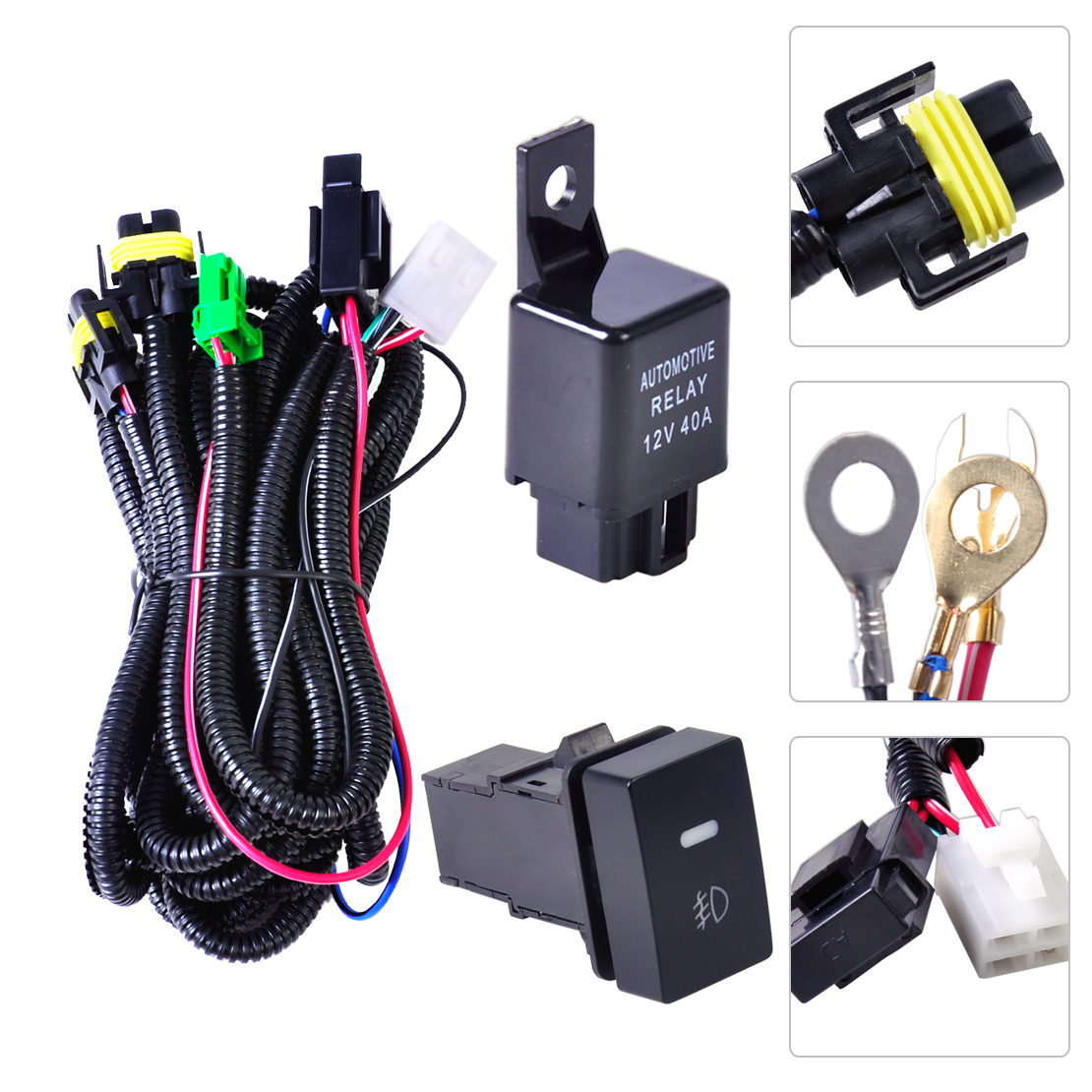 citall h11 fog light lamp wiring harness sockets wire + switch with led  indicators at relay