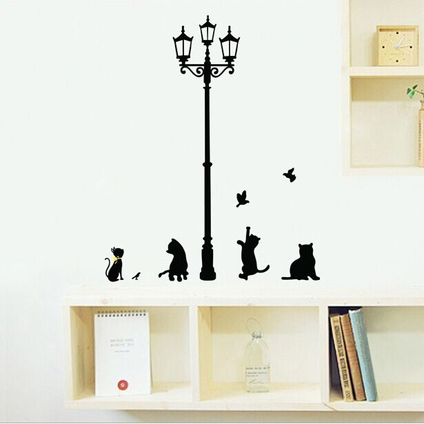 cartoon cats under the street light warm romantic diy wall stickers kids bedroom living room. Black Bedroom Furniture Sets. Home Design Ideas