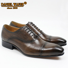 цена на GENUINE LEATHER OXFORD SHOES MEN LACE UP CAP TOE OFFICE WEDDING SHOES BLACK BROWN BROGUE POINTED TOE OXFORD FORMAL SHOE MEN