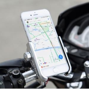 Image 2 - Universal Aluminum Alloy Motorcycle Phone Holder For iPhoneX 8 7 6s Support Telephone Moto Holder For GPS Bike Handlebar Holder