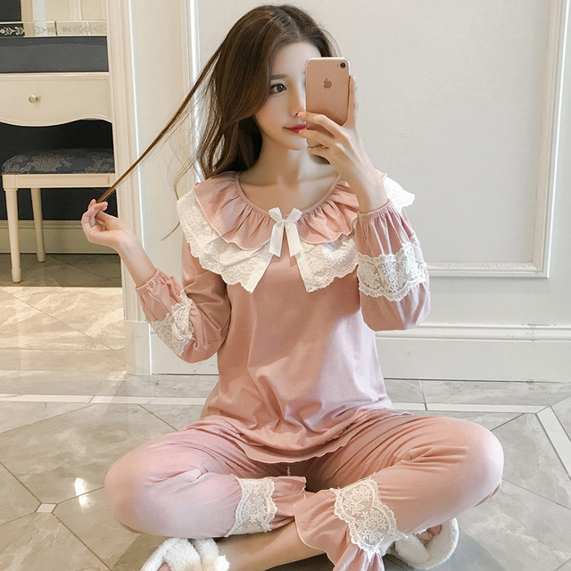 Korean pajamas, women's spring and autumn long sleeves, pure cotton lace suit, Princess fresh breeze, students' sweet and lovely